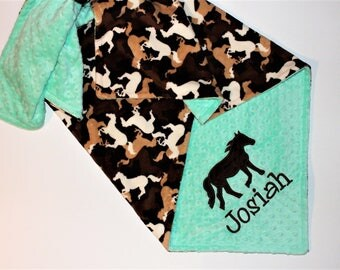 Personalized Baby Blanket, Horses Blanket, Brown and Mint, Horse Applique Blanket, Horse Camo Minky, Western, Cowboy, Cowgirl, Equestrian