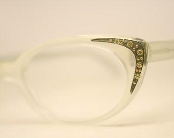 White Rhinestone cat eye eyeglasses  vintage cat eye glasses frames Cateye frames