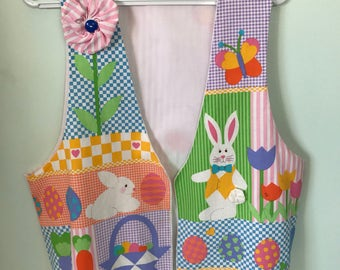 Vintage Easter Vest Bright Easter Eggs Bunny Rabbit Stripes Flowers Seasonal Apparel