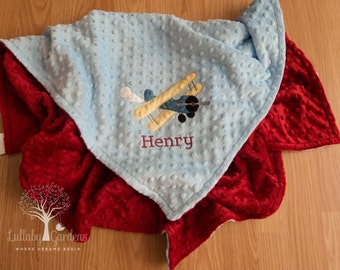 Airplane Personalized Minky Baby Blanket,  Airplane Minky Baby Blanket, Personalized Baby Boy Blanket, Personalized Baby Gifts