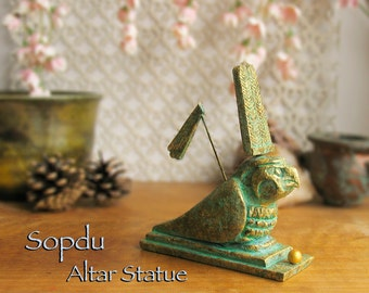 Sopdu - Ancient Egyptian Solar Deity - Handcrafted Altar Votive Statue - Double Plume Headdress and Golden Brass Patina Finish