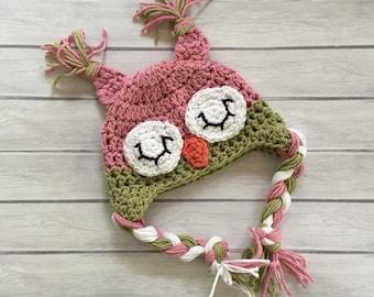Crochet owl hat, baby owl hat, newborn owl hat, baby girl hat, pink owl hat, sleepy owl hat, newborn photo prop, toddler owl hat, owl