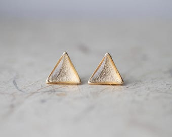 Gold Foil Triangle Shimmer Stud Earrings, Sparkling Geometric ear posts BUY 2 GET 1 FREE