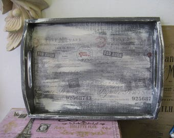 Romantic Aged Nordic French Inspired Cottage Chic Decorative Tray Gray White