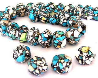 12 large turquoise magnesite beads, 20mm turquoise hexagon mosaic, blue and white 20mm beads, 1 mm holes, statement beads