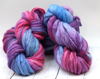 "Hand dyed yarn thick and Thin Yarn hand spun merino ""Cautious Optimist"""