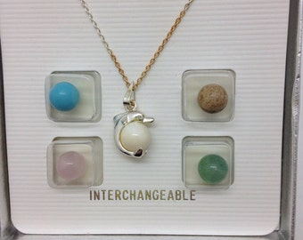 Dolphin pearl necklace interchangeable pearl necklace