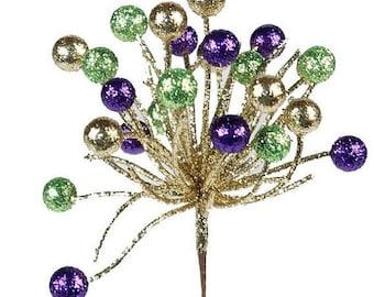 15% OFF Mardi Gras Berry Glitter Pick XS851344, Fall Wreath Decor, Wreath Decorations