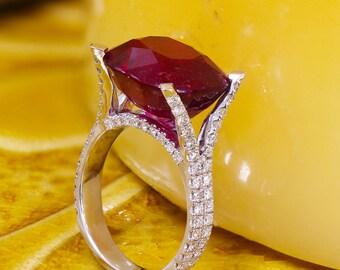 18k white gold Cushion cut ruby and round diamond ring micro pave set, engagement, wedding, anniversary, bridal, prong set, art deco 13.70ct