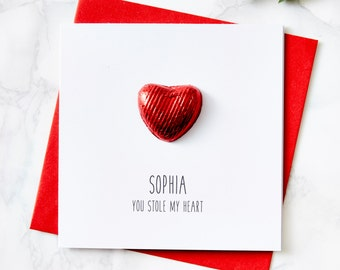 Chocolate Heart Personalised Christmas Card
