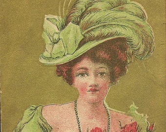 Antique Valentine's Day Postcard Lavish Gold Background Lady in Fancy Green Hat Accents of Red Roses and Heart