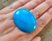 Statement Ring, Turquoise Blue Oval Stone Stone Ring, Cocktail Ring, Gypsy Ring, Statement Jewelry, Boho Ring, Bohemian Jewelry, LAST ONE!
