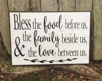 Bless the food before us, 36x24, Dining signs, thankful signs