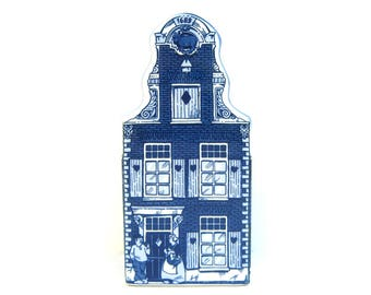 Vintage Delft Blue Canal House Bank, Blue and White Handpainted, Holland Knick Knack