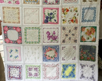 Hanky Handkerchief Vintage Hanky Rag Quilt Made to Order for You