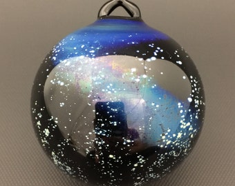 Galaxy Glass Ornament // Black Christmas Ornament w/ Silver Fuming