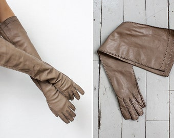 Long Leather Gloves • Vintage Gloves • Elbow Gloves • Opera Gloves • Brown Leather Gloves • Vintage Leather Gloves • Brown Gloves | W344