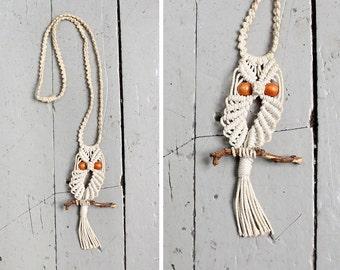 Macrame Owl Necklace • 70s Necklace • Fringe Necklace • Vintage Necklace • Handmade Necklace • Long Boho Necklace  | N219