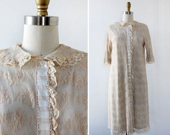 60s Lace Robe • Peter Pan Collar Duster Jacket • Lace Duster • Dressing Robe • Robe Lace • Duster Jacket • Boho Robe | D613