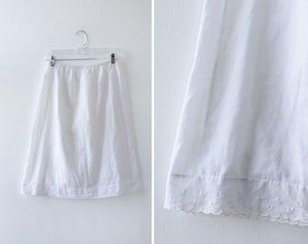 Eyelet Lace Trim Slip Skirt M • Vintage Slip • Half Slip • 80s Lingerie • White Slip • Cotton Slip • Cotton Skirt   SK694