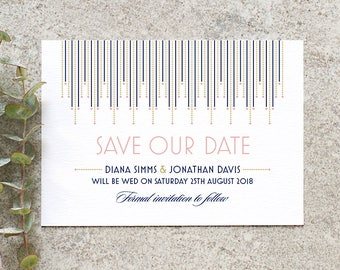 Art Deco 'Save the Date' / 'Gatsby' 1920s Wedding Card / Engagement Announcement / Pink Navy Gold / Custom Colours Available / ONE SAMPLE