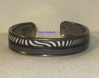 Black/White Zebra Print w/Black & Gray Leather Cuff Bracelet,jewelry,leather cuff,animal print bracelet,gray bracelet,black bracelet,