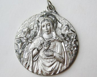 Large Vintage 40s Sterling Silver Virgin Mary Madonna Catholic Necklace Pendant Charm