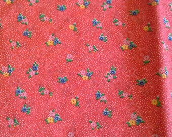 Floral Calico Print on Red Background Cotton Polyester Blend Fabric 1 1/4 Yards X0718
