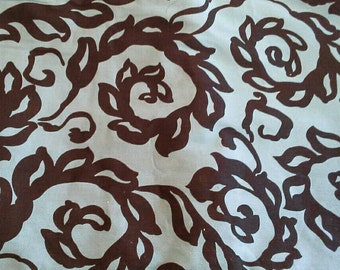 Black Swirl Leaf Print on Blue Background Vintage Cotton Fabric 2 1/4 Yards X0735
