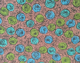 Blue and Green Floral Print on Brown Background Vintage Cotton 1 1/2 Yards X0756