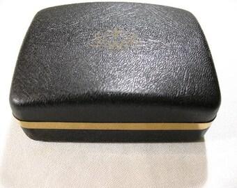 Vintage Black Leather-Look Cufflink Box, Weber Jewelry for Men
