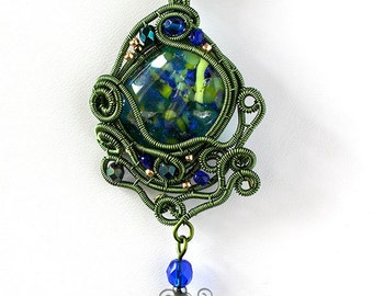 OOAK Green and blue fused glass pendant