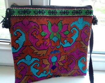 Uzbek silk hand embroidered bag Mascot. Cross stitch embroidery