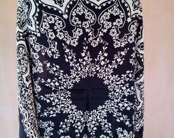 Vintage Russian black crepe silk boho scarf. Hippy, festival scarf. SC002