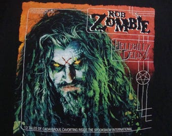 Vintage 90's ROB ZOMBIE of White Zombie Hellbilly Deluxe Heavy Metal Concert Tour T shirt Size L