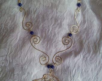 Blue Spirals Celtic Wolfhound Necklace