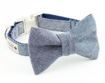 Indigo Herringbone Dog Bowtie Collar