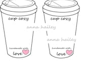 Crochet Coffee Cup Cozy  To Go Cup Template Inserts Printable Holder cup Display