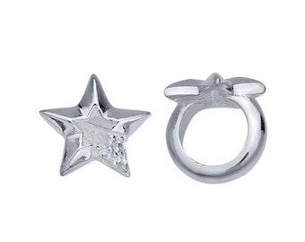 Sterling Silver 8.6 x 9.1mm CZ-Set Open Star Bead for leather bracelet