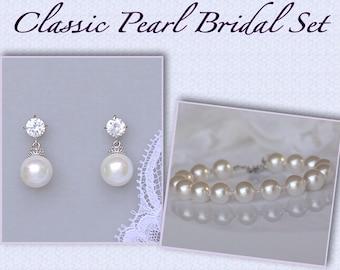 Pearl Bridal Set, Wedding Jewelry Set, Pearl Earrings & Bracelet SET, Swarovski Pearl Wedding Set, Bridesmaids Pearl Set