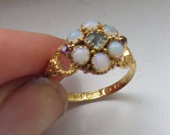 Pretty VICTORIAN/EDWARDIAN 15ct (kt) Gold Cluster Dress RING