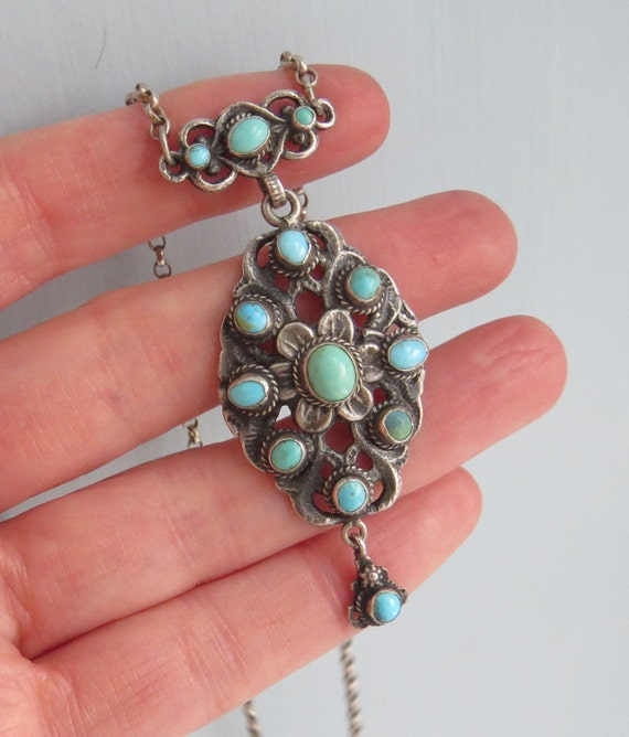 VINTAGE Arts and Crafts Zoltan White and Co Austro-Hungarian Turquoise NECKLACE
