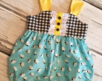 Baby Girl Bubble Romper Sunsuit Vintage Retro Bumblebees Collection Toddler Infant Girls