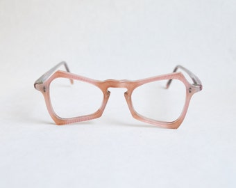 1940s 50s Pink marbled angular spectacle frames / 1950s 40s pastel celluloid novelty eyeglasses