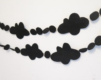 Cloud bunting , black garland , cloud garland , black cloud banner , black cloud garland , black kids room , felt cloud garland