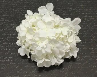 One Hydrangea Head in Cream White - Artificial Flowers, Silk Flowers, Wedding Flowers, Flower Crown, Hair Accessories, Scrapbook, Millinery