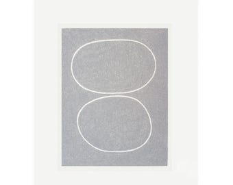 simple abstract screenprint, grey minimal art by Emma Lawrenson.