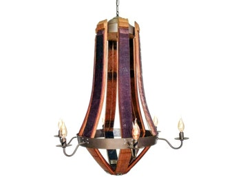 "Wine Barrel Teardrop Chandelier - CRAFTSMAN - ""Serotina"" - 100% RECYCLED"