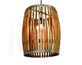 "Wine Barrel Pendant Light Large Convex - CRAFTSMAN - ""Yukimi"" -  100% RECYCLED"