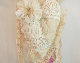 Heart Emellished With Antique Laces